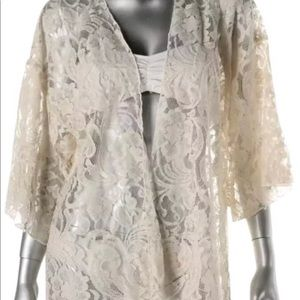 Beige lace coverup with open front brand new